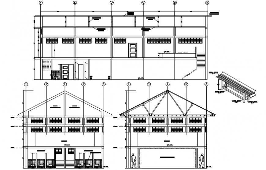 2 d cad drawing of house roof elevation layout Auto Cad software