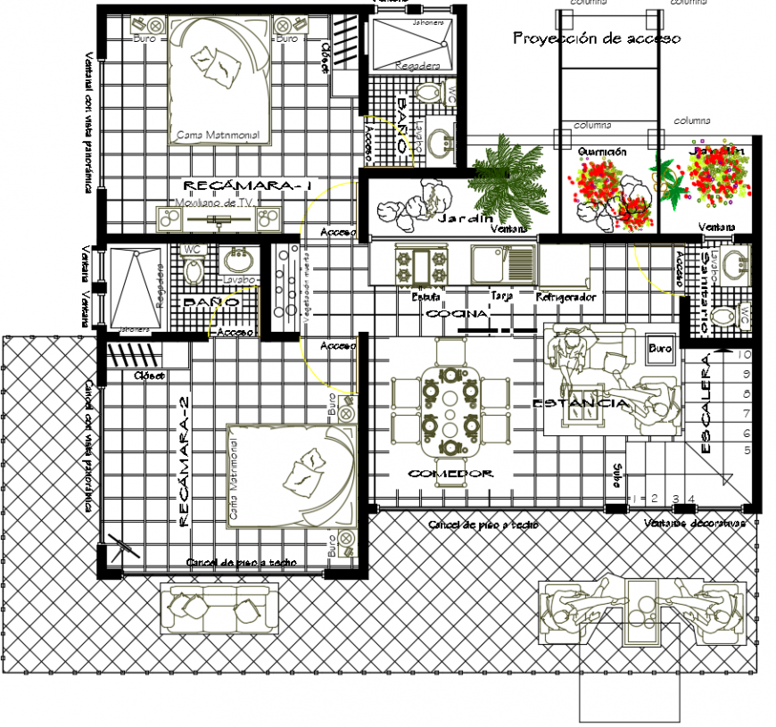 2 d cad drawing of house room living furniture Auto Cad software