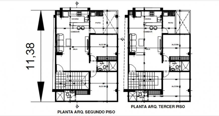 2 d cad drawing of housing and commercial premises plan auto cad software