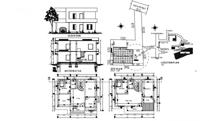 2 d cad drawing of lake villa auto cad software