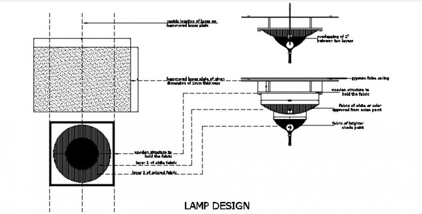 2 d cad drawing of lamp design auto cad software