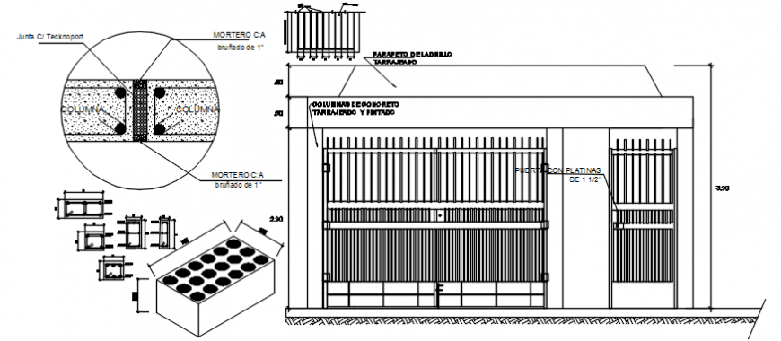 2 d cad drawing of main apartment gate details elevation and door elevation