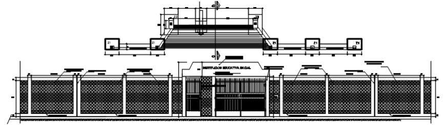 2 d cad drawing of main apartment gate elevation and door elevation
