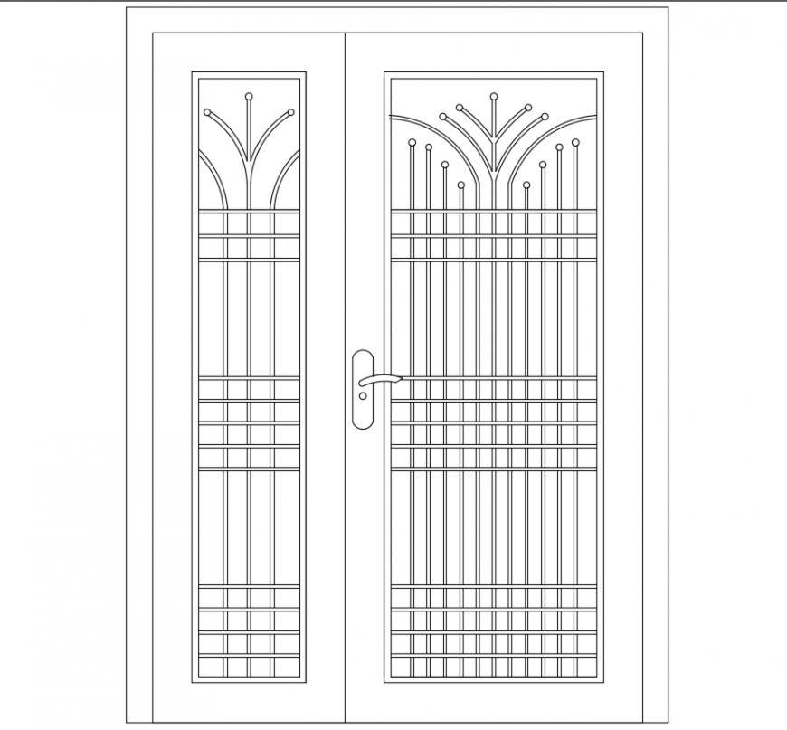 2 d cad drawing of main door Auto Cad software