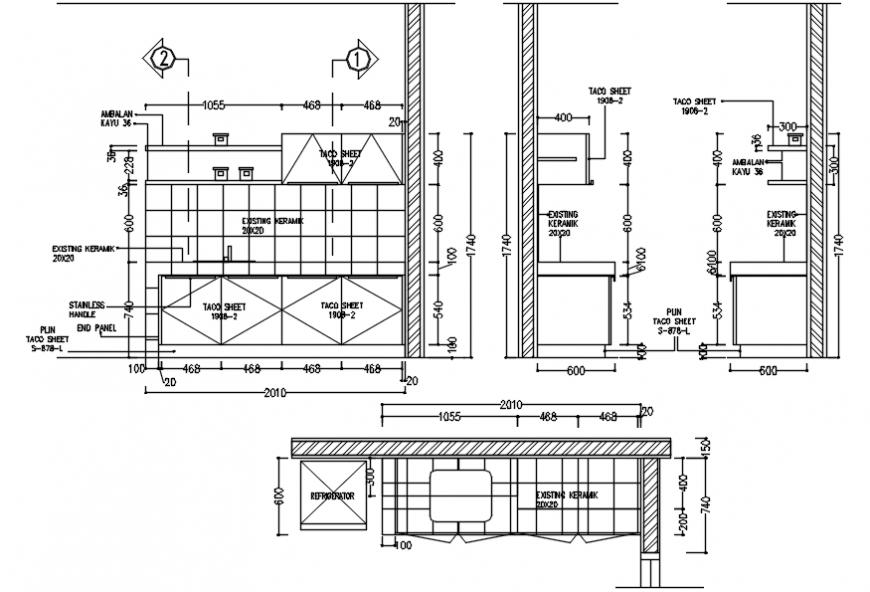 2 d cad drawing of marina apartment elevation Auto Cad software