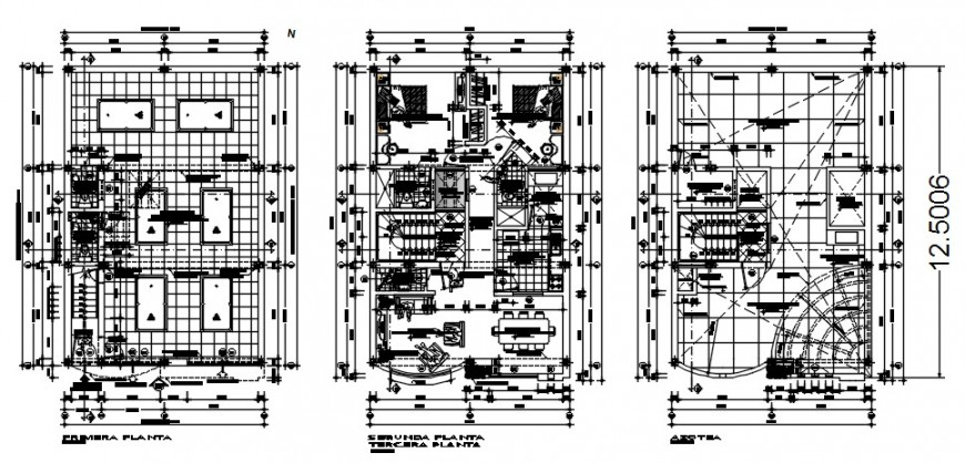 2 d cad drawing of multi-family architecture auto cad software