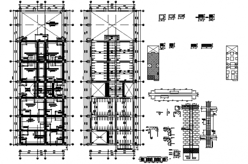 2 d cad drawing of multi-family housing elevation Auto Cad software