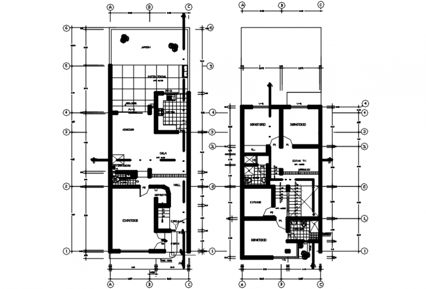 2 d cad drawing of multi-family plan detail Auto Cad software