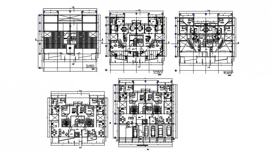 2 d cad drawing of multiple ten level plan auto cad software