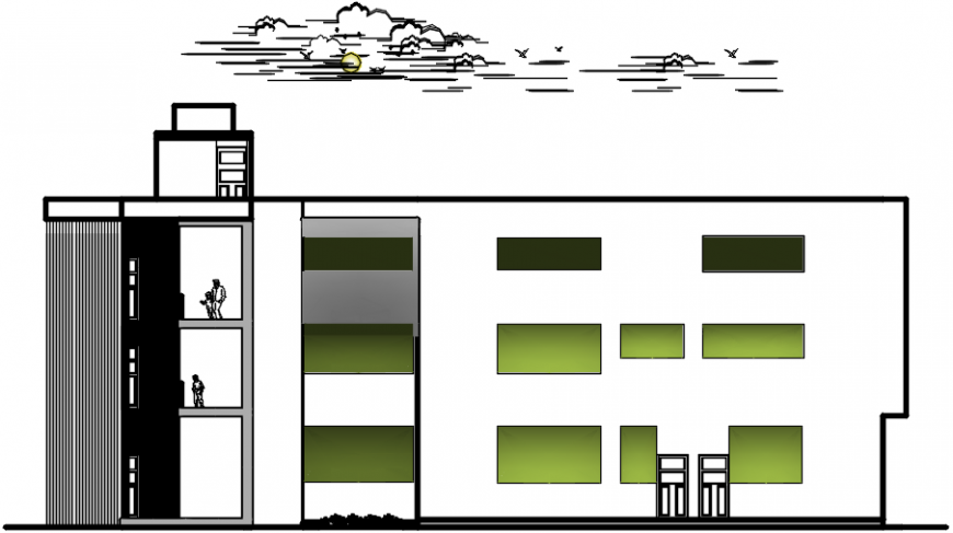 2 d cad drawing of outer college elevation Auto Cad software