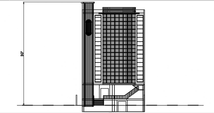 2 d cad drawing of plaza elevation auto cad software