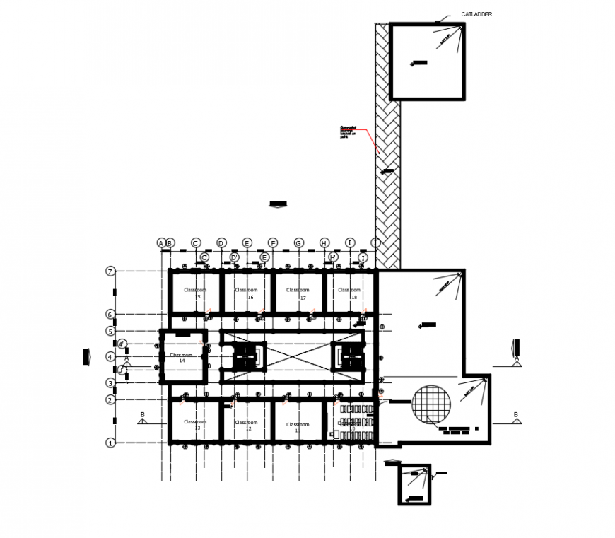 2 d cad drawing of primary school first floor plan auto cad software