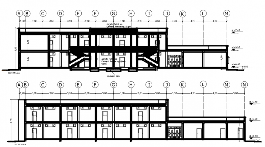 2 d cad drawing of primary school sections auto cad software