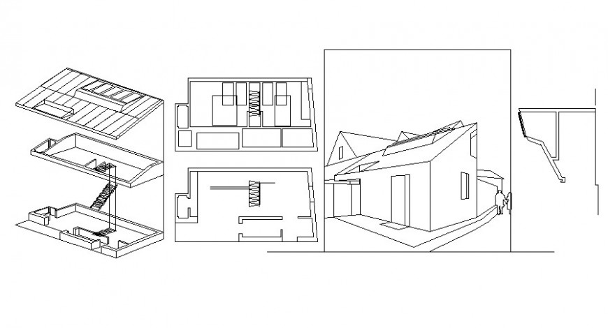 2 d cad drawing of roof elevation Auto Cad software