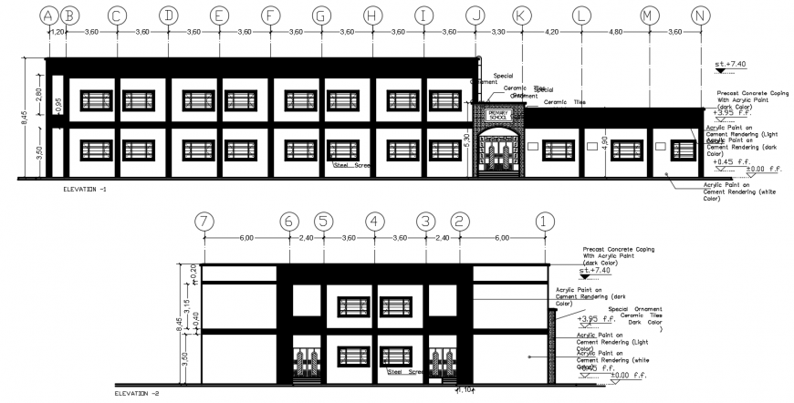 2 d cad drawing of school elevation auto cad software