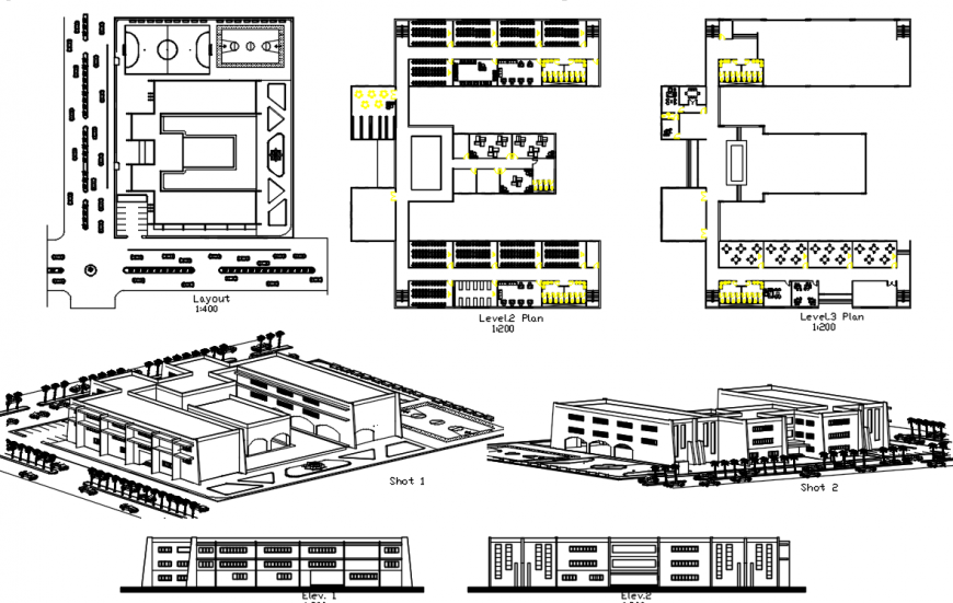 2 d cad drawing of school exterior campus elevation Auto Cad software