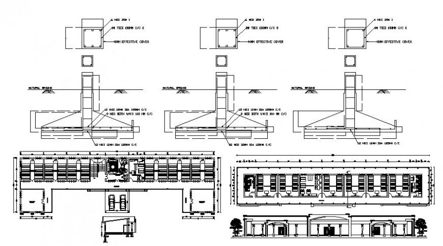 2 d cad drawing of school exterior elevation Auto Cad software