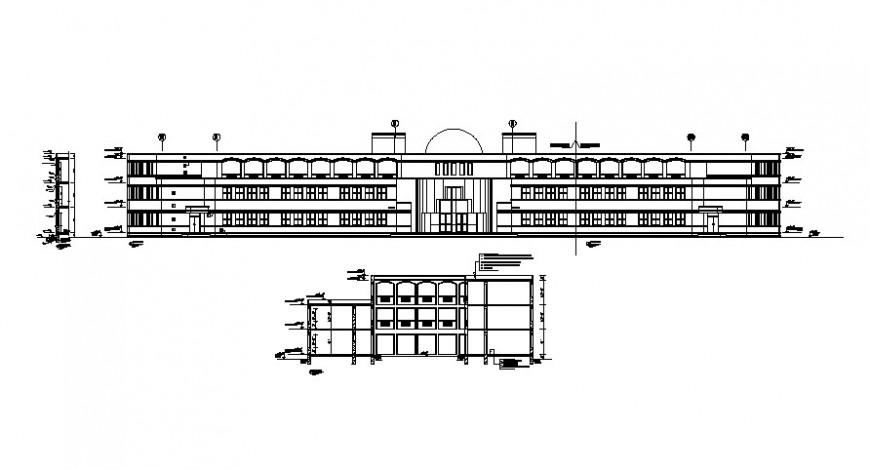 2 d cad drawing of school exterior long campus elevation auto cad software