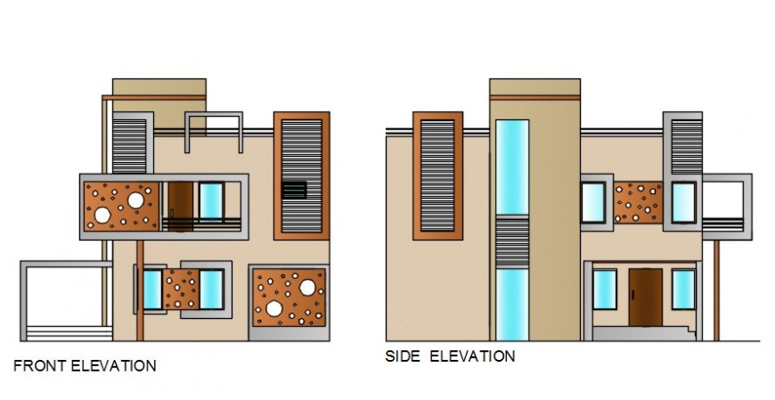2 d cad drawing of school front and side elevation auto cad software