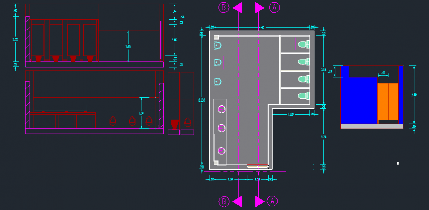 2 d cad drawing of shopping center toilet area Auto Cad software