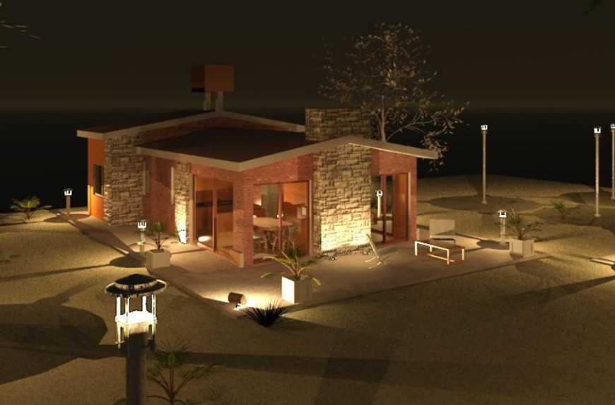 2 d cad drawing of single-family housing night view field auto cad software