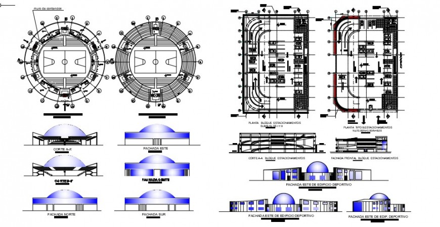2 d cad drawing of sports university elevation auto cad software