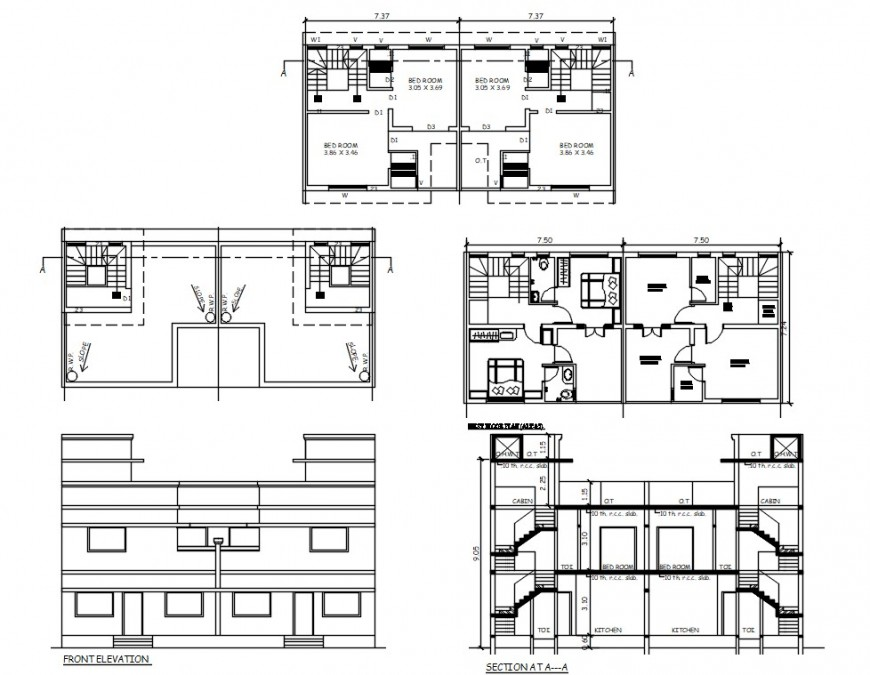 2 d cad drawing of sub elevation auto cad software