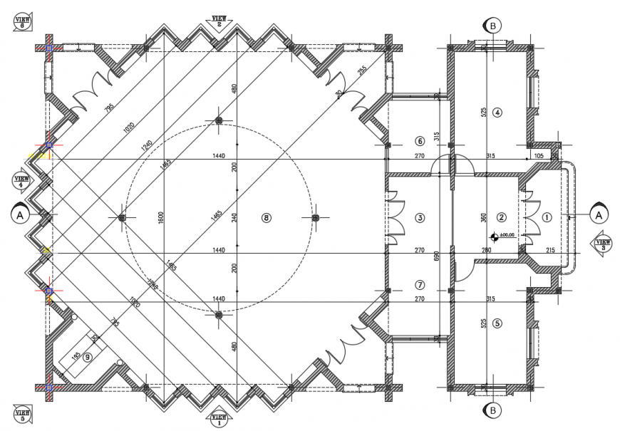 2 d cad drawing of the floor plan of mosque Auto Cad software