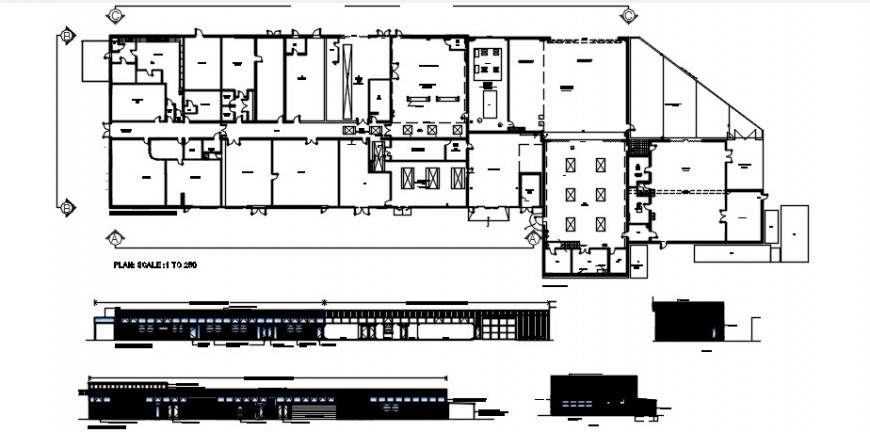 2 d cad drawing of the home plan and elevation auto cad software