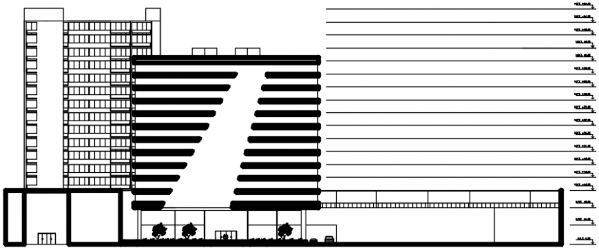 2 d cad drawing of the hotel building exterior Auto Cad software