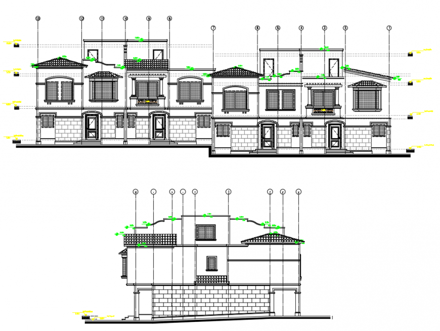 2 d cad drawing of townhouse elevation auto cad software