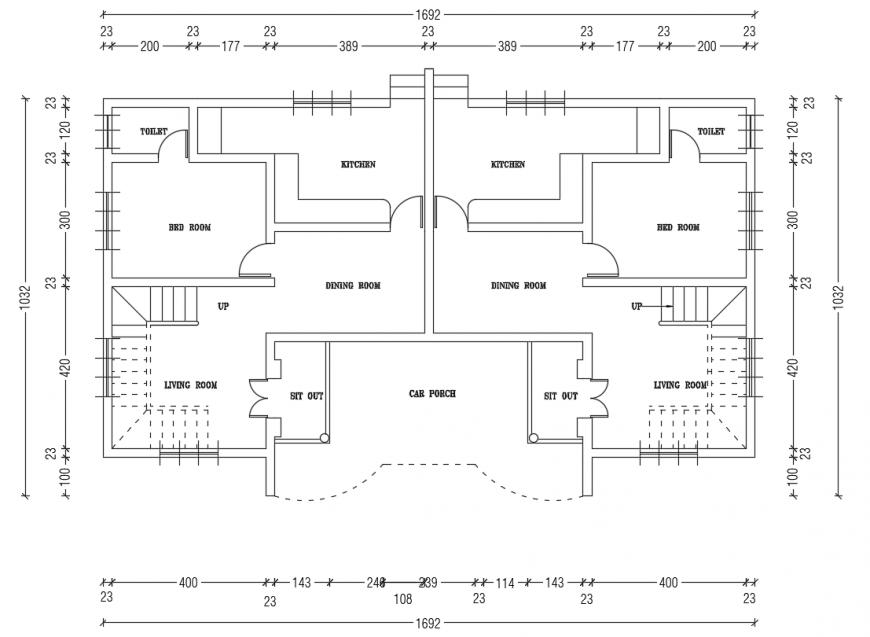 2 d cad drawing of twin house auto cad software
