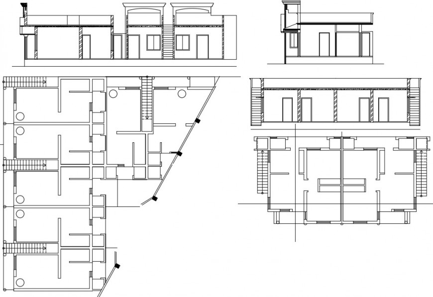 2 d Cad drawing of Two bedroom house rough plan auto cad software