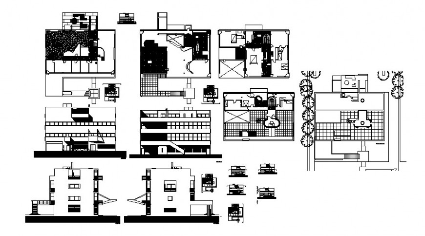 2 d cad drawing of villa plan layout Auto Cad software