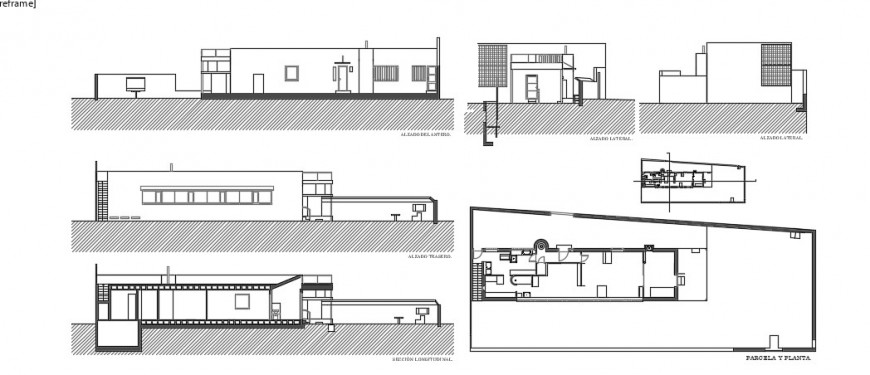 2 d cad drawing of village level house elevation auto cad software