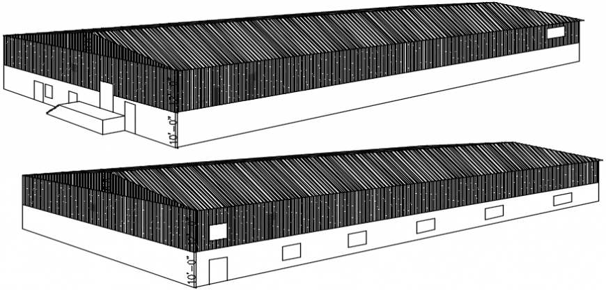 2 d cad drawing of warehouse elevation  Auto Cad software