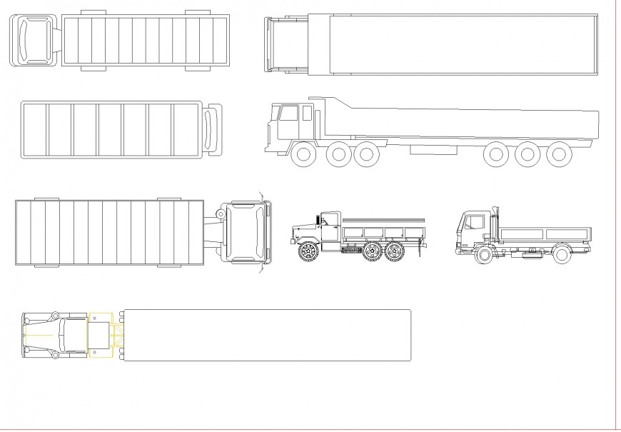 2 D truck plan detail dwg file