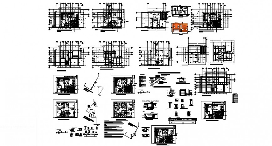2 floor residence project detail cad file