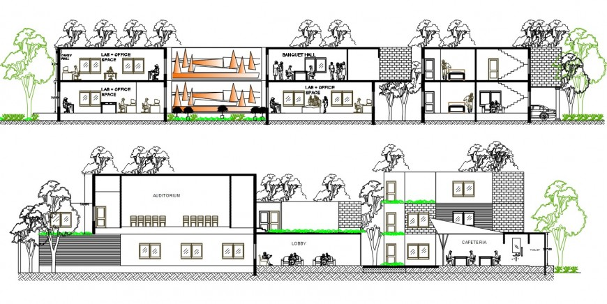 2 story corporate building section plan