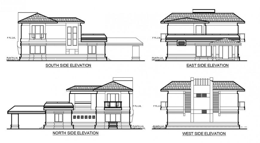 2 story residential elevation design cad file