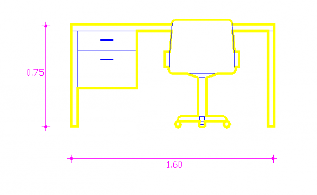 Details of office tabal elevation in cad
