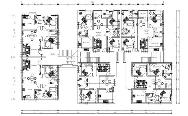2bhk Flat Design With Furniture Layout AutoCAD File Free