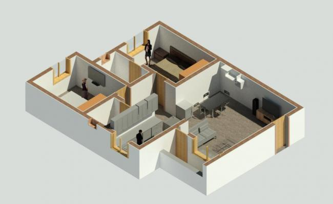 2bhk with attached toilet.