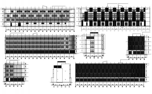 2d Building elevation design CAD Drawing