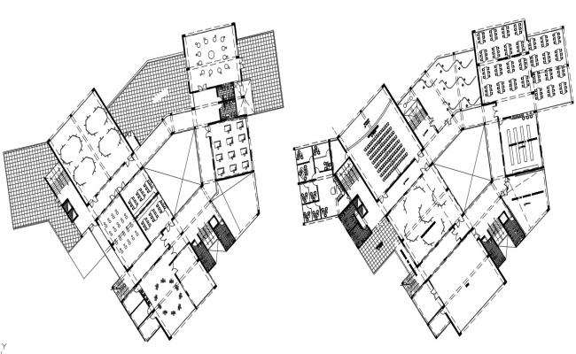 2d CAD floor layout plan drawings of commerce building dwg file