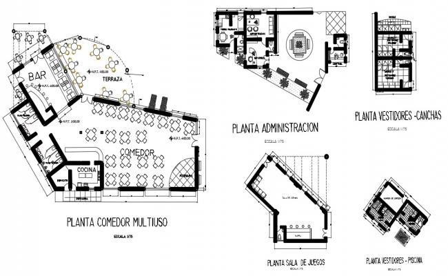 2d CAD layout floor plan of restaurant building dwg file