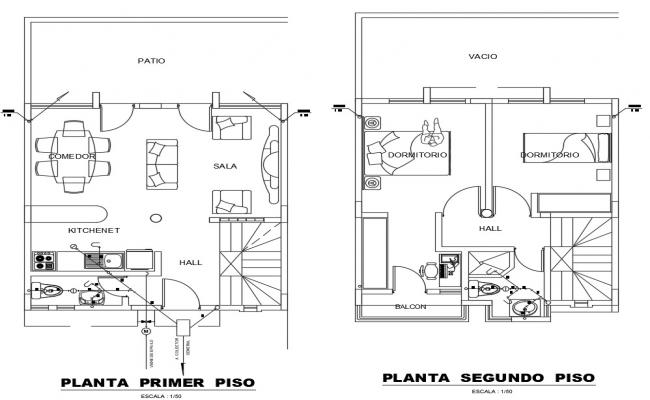 2d CAD layout plan furnished house details in autocad file