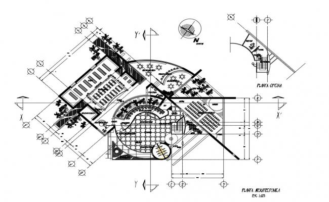 2d CAD layout plan of library building dwg file