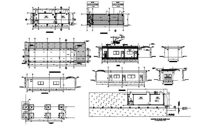 2d Drawing of guard house 130.00mtr x 35.00mtr with section and elevation in dwg file