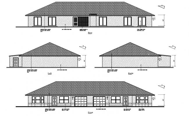 2d Drawing of the house with elevation in AutoCAD